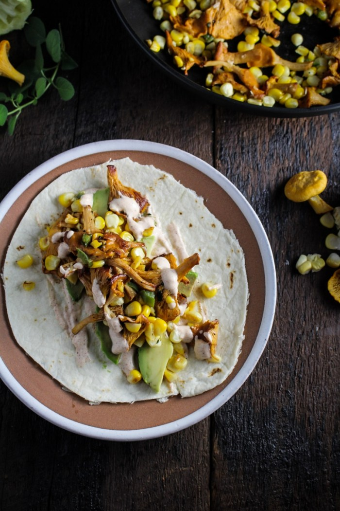 Chanterelle and Corn Tacos with Chile Crema {Katie at the Kitchen Door}
