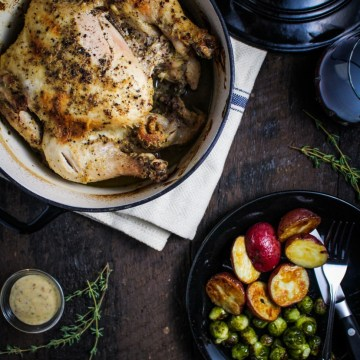 Mustard and Creme Fraiche Roast Chicken {Katie at the Kitchen Door} @kitchendoor