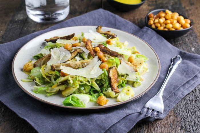 Brussels Sprout Caesar Salad with Shiitake Mushrooms and Roasted ...