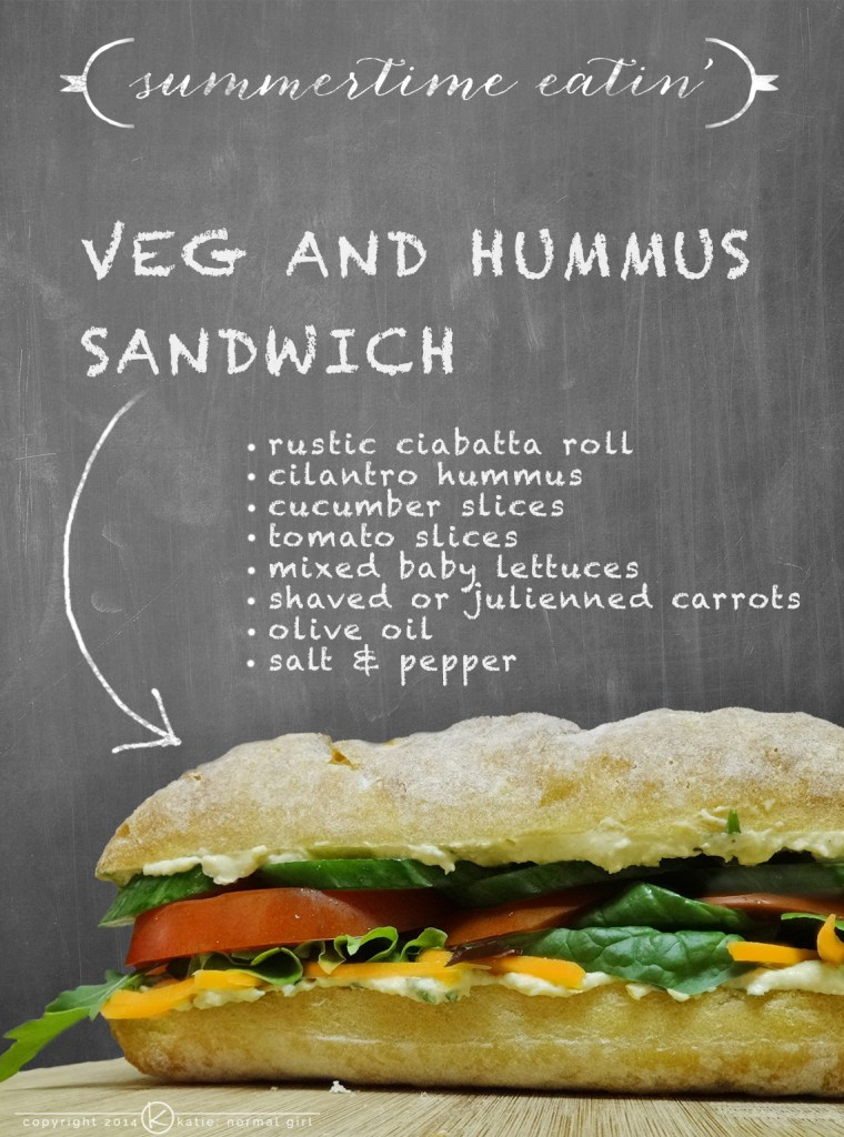 Perfect at summer barbecues for your vegetarian friends, Veg and Hummus Sandwich from katienormalgirl.com | #meatlessmonday #recipes #sandwiches