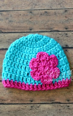 Crochet Beanie Pattern J Hook : Free Flower Crochet Hat Pattern - Katies Crochet Goodies
