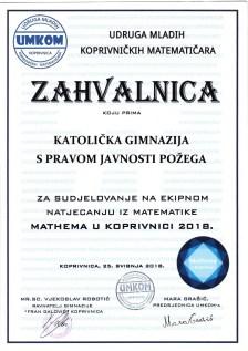Mathema Koprivnica 2018.
