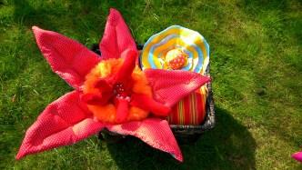 Fabric flowers, sculptural textiles, tactile art, art for children.