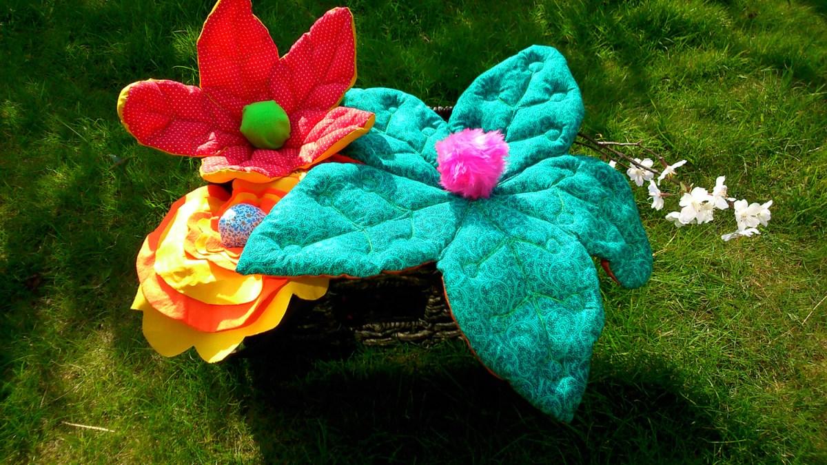 Fabric flowers. props, textile art, fibre art, sculptural textiles.