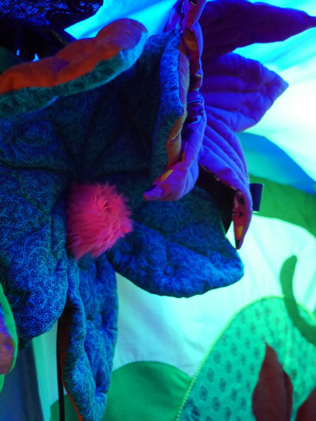 Tactile art, sculptural textiles, fabric flowers, art for kids