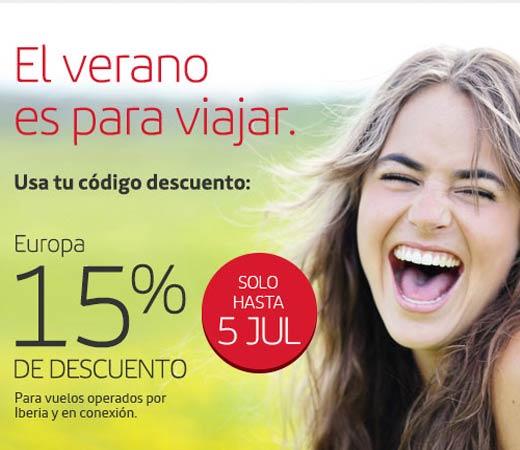 Iberia 15% de descuento