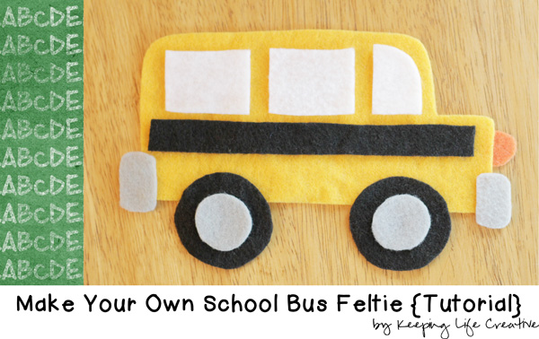 Create a School Bus Feltie for flannel or felt board using a FREE Printable School Bus Craft Template.