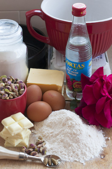 ingredients for pistachio and rosewater cake