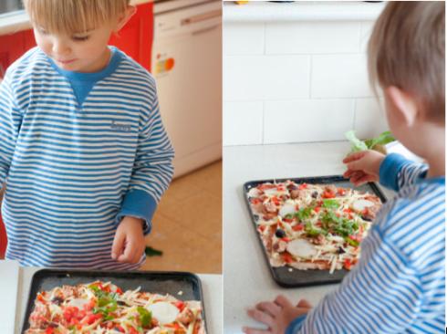 D Man preparing his own pizza