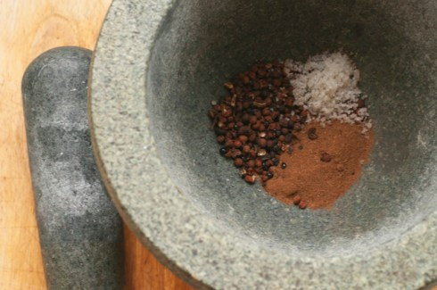spices in mortar with pestle
