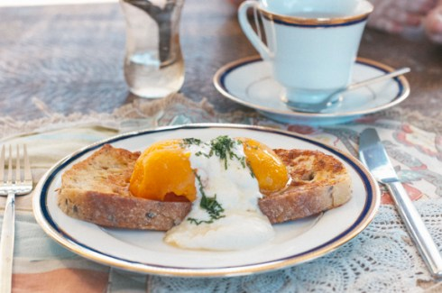 spiced poached peaches and french toast