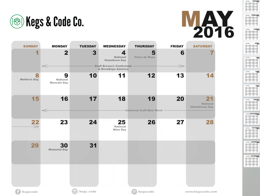 2016 beer & wine calendar