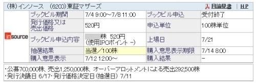 インソース(6200)100株当選!!