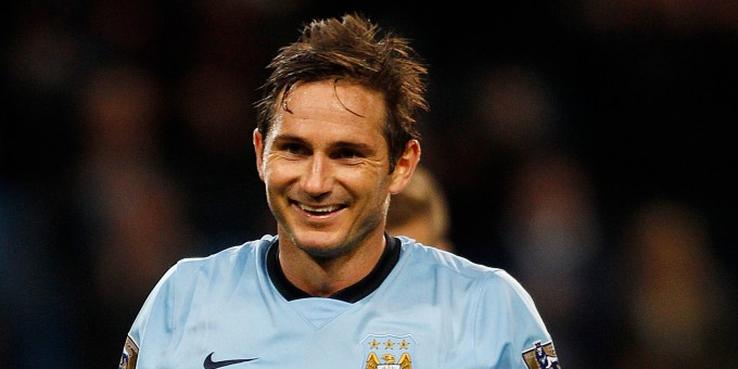 Manchester City's Frank Lampard celebrates scoring his 2nd goal against Sheffield Wednesday