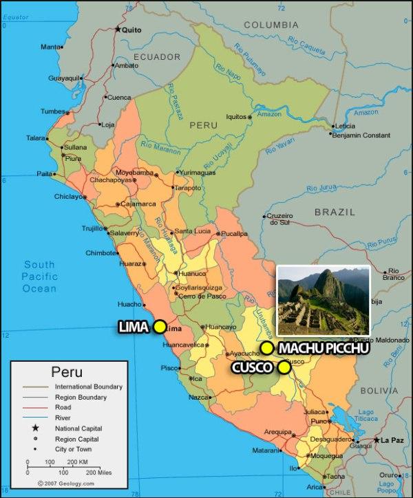 map of peru lima cusco machu picchu