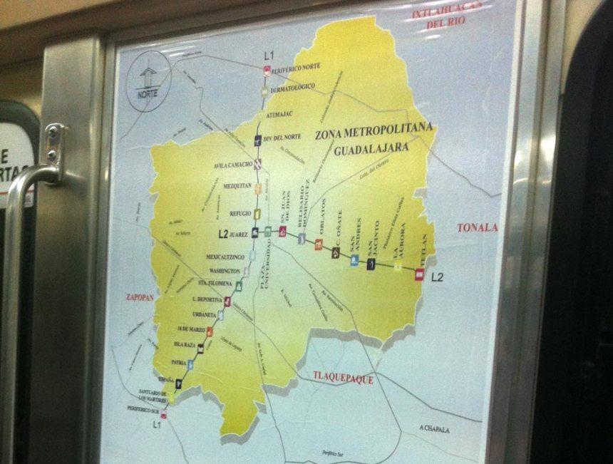 Mapa de la zona metropolitana en el tren ligero de Guadalajara (Siteur)