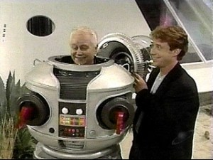 Bob May trying on the Robot suit one more time.