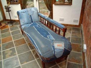 Chaise Denim and cowhide top
