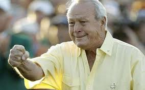 This was Arnold Palmer last year after running in a long putt.