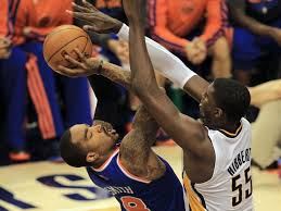 The Great Wall of Hibbert makes a long night longer for the Knicks J.R. Smith.