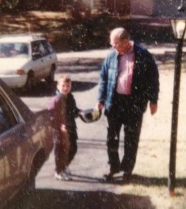 A grandfather goes for a walk with a kid who will start law school in two weeks.  That would please him.