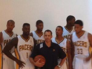Pacers move into position for a team picture.  That six players joined coach Frank Vogel revealed nothing about who Vogel plans to start.