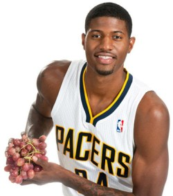 Paul George is making baskets like flinging grapes into a bucket.