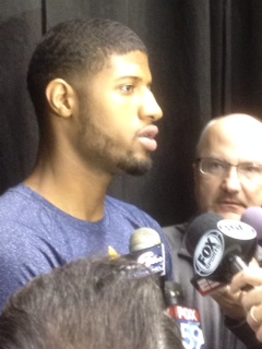 Paul George talks to the media today about the Stephenson vs. Turner fracas.