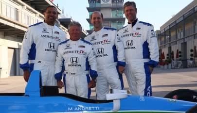 Mark Jackson, Mario Andretti, Jeff Van Gundy and Tim Corrigan. (photo courtesy of Indianapolis Motor Speedway)
