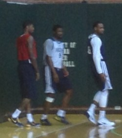 Paul George (left) in his no-contact red penny said he believes he'll be ready to go tomorrow night.