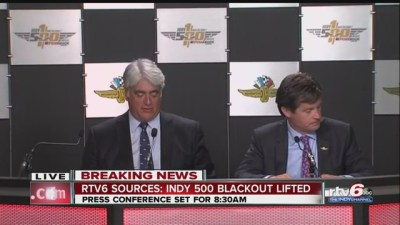 Mark Miles and Doug Boles announcing the ridiculous live blackout of the Indy 500 has been lifted because the race is a sellout. It should be lifted permanently because it's idiotic.