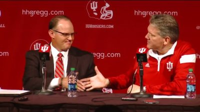 Meet the new boss - not the same at all as the old boss. IU AD Fred Glass welcomes Tom Allen as the next football coach.