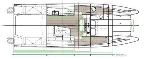 General Arrangment drawing of 37' power catamaran by Kernan Yacht Design