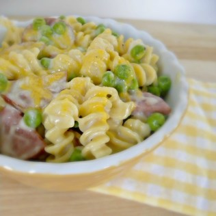 Stovetop Mac and Cheese with Sausage and Peas