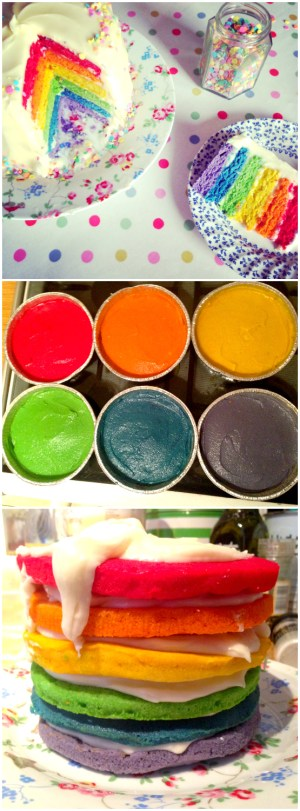 Rainbow Cake Recipe - How to make a Rainbow Cake! A delicious step by step UK-friendly recipe to make a bright and vibrant layered Rainbow Sponge Cake with Cream Cheese Frosting - perfect for birthdays!