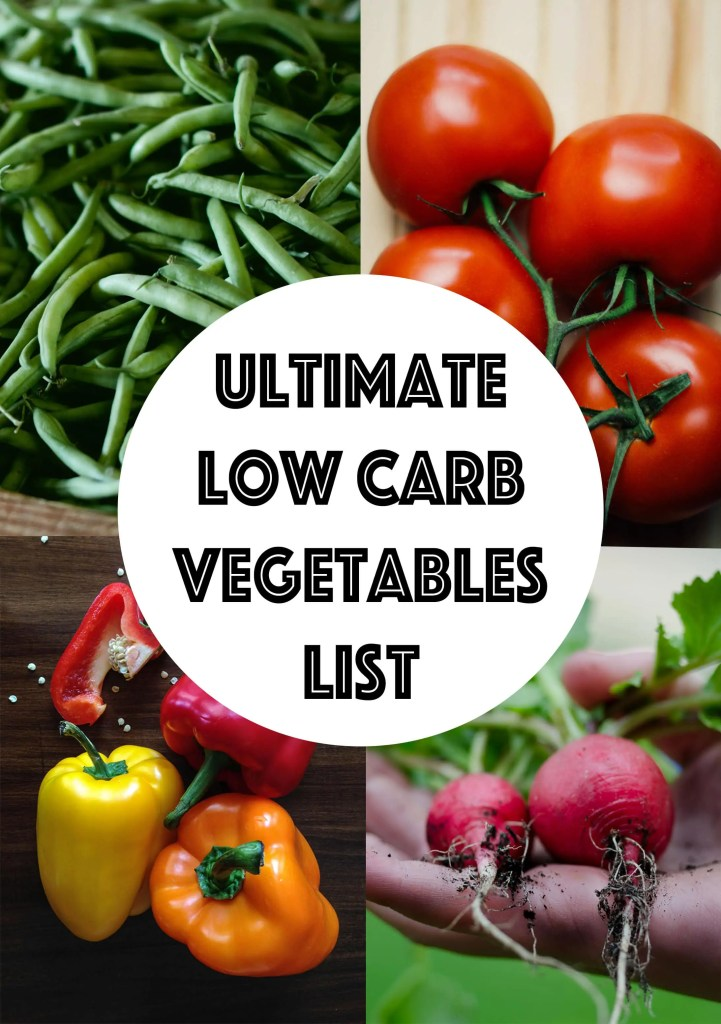 Punchy image for low carb fruits and vegetables printable list