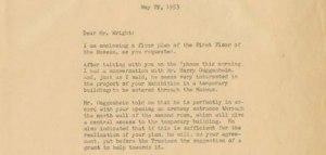 Carta de James Johnson Sweeney a Frank Lloyd Wright, fechada el 29 de mayo de 1953/ Photo Credits: Solomon R. Guggenheim Archives, New York