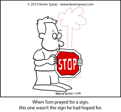 cartoon of a guy holding a stop sign