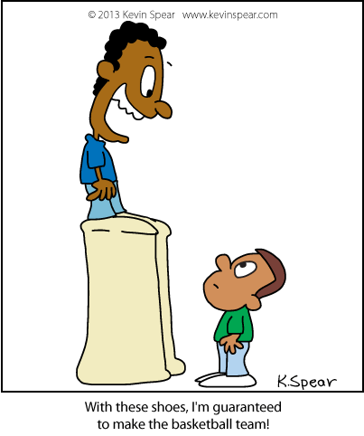 Cartoon of boy wearing shoes with huge soles