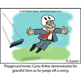 Cartoon of a business man jumping off a swing