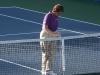 Lynn Welch measuring the net