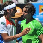 Rafael Nadal talks to Feliciano Lopez after their match at the Aussie Open