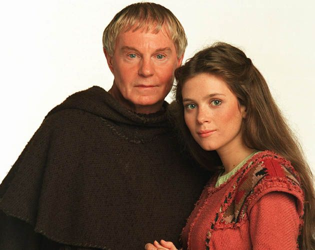 EDITORIAL USE ONLY / NO MERCHANDISING Mandatory Credit: Photo by ITV/REX/Shutterstock (814149gq) 'Cadfael' TV Episode 3-A Morbid Taste for Bones Derek Jacobi and Anna Friel ITV Archive