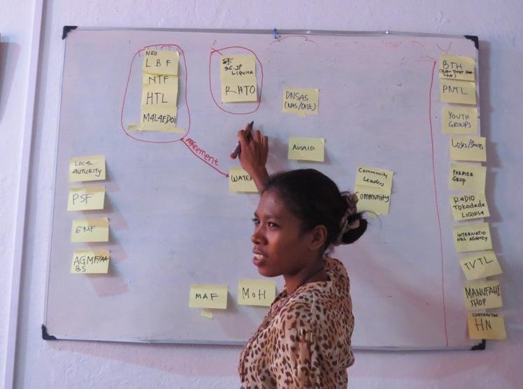 Apolonia Barreto of WaterAid Timor Leste facilitating a participatory partnership mapping exercise. Credit Tim Davis/WaterAid