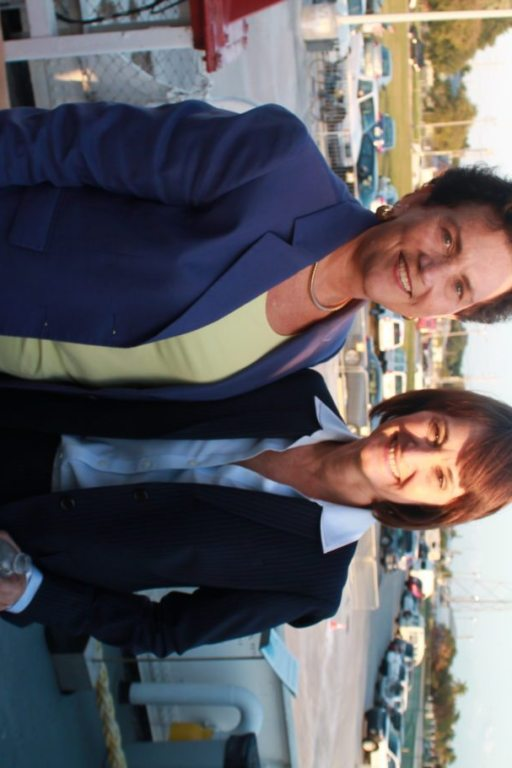Judge Bonnie Helms and State Attorney Catherine Vogel found a moment to catch up at the reception.