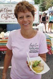 Leigh Ann Card shows off her chicken polenta – perfectly paired yumminess – and winner of best entrée for the fusion.