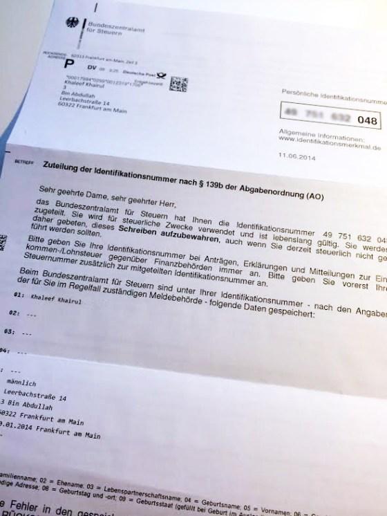 Surat dari pejabat cukai yang memberikan nombor identiti cukai kepada Khaleef