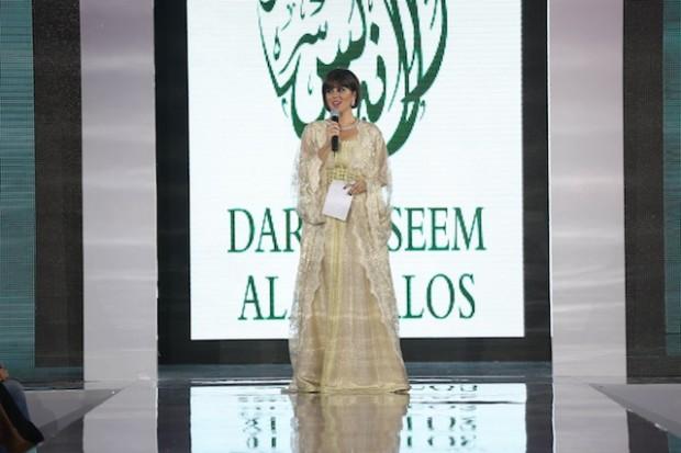 Noor AlShaikh, Bahraini TV personality in Dar Naseem AlAndalos at The Doha Fashion Festival 2013