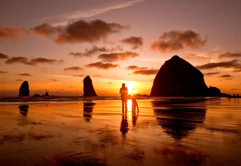 Sunset at Canon Beach, OR. Image credit: The Ocean Lodge