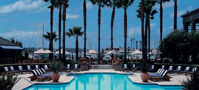 View of the pool and harbor from the Ritz Carlton, Marina del Rey.
